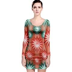 Star Pattern  Long Sleeve Bodycon Dress