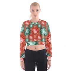 Star Pattern  Women s Cropped Sweatshirt