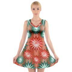 Star Pattern  V-Neck Sleeveless Skater Dress