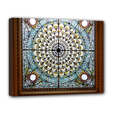 Stained Glass Window Library Of Congress Canvas 14  x 11