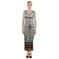 Stained Glass Window Library Of Congress Fitted Maxi Dress