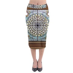 Stained Glass Window Library Of Congress Midi Pencil Skirt