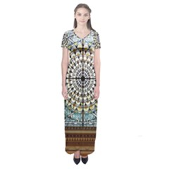 Stained Glass Window Library Of Congress Short Sleeve Maxi Dress