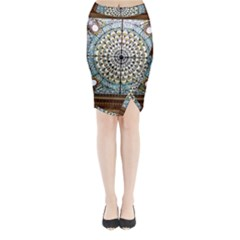 Stained Glass Window Library Of Congress Midi Wrap Pencil Skirt