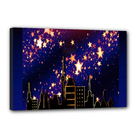 Star Advent Christmas Eve Christmas Canvas 18  x 12