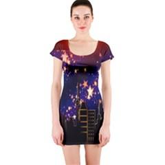 Star Advent Christmas Eve Christmas Short Sleeve Bodycon Dress