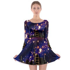 Star Advent Christmas Eve Christmas Long Sleeve Skater Dress
