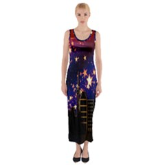 Star Advent Christmas Eve Christmas Fitted Maxi Dress