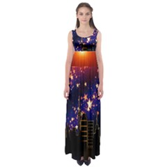 Star Advent Christmas Eve Christmas Empire Waist Maxi Dress