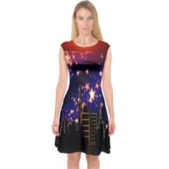 Star Advent Christmas Eve Christmas Capsleeve Midi Dress