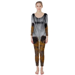 Spring Bird Feather Turkey Feather Long Sleeve Catsuit