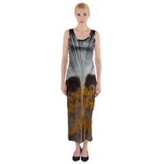 Spring Bird Feather Turkey Feather Fitted Maxi Dress