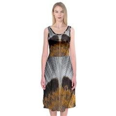 Spring Bird Feather Turkey Feather Midi Sleeveless Dress