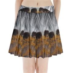 Spring Bird Feather Turkey Feather Pleated Mini Skirt