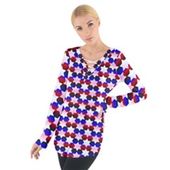 Star Pattern Women s Tie Up Tee