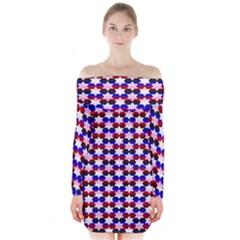 Star Pattern Long Sleeve Off Shoulder Dress