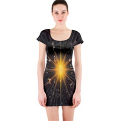 Star Christmas Advent Decoration Short Sleeve Bodycon Dress