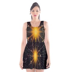 Star Christmas Advent Decoration Scoop Neck Skater Dress
