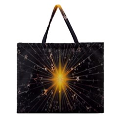 Star Christmas Advent Decoration Zipper Large Tote Bag