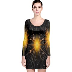 Star Christmas Advent Decoration Long Sleeve Velvet Bodycon Dress