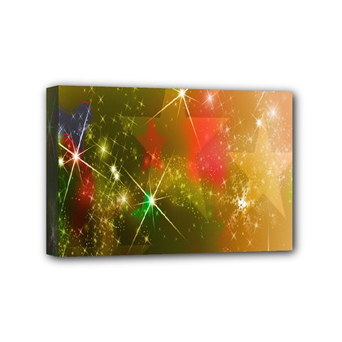 Star Christmas Background Image Red Mini Canvas 6  x 4