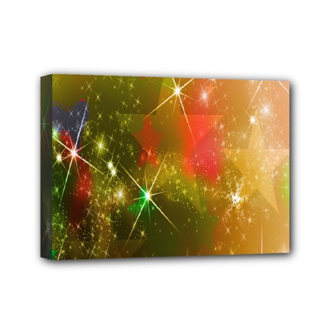 Star Christmas Background Image Red Mini Canvas 7  x 5