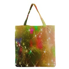 Star Christmas Background Image Red Grocery Tote Bag