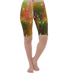 Star Christmas Background Image Red Cropped Leggings