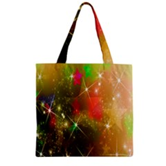 Star Christmas Background Image Red Zipper Grocery Tote Bag