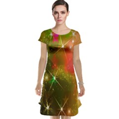 Star Christmas Background Image Red Cap Sleeve Nightdress