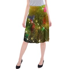 Star Christmas Background Image Red Midi Beach Skirt
