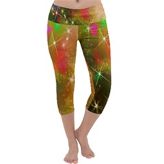Star Christmas Background Image Red Capri Yoga Leggings