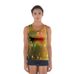 Star Christmas Background Image Red Women s Sport Tank Top