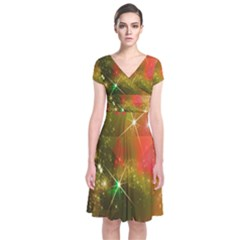 Star Christmas Background Image Red Short Sleeve Front Wrap Dress