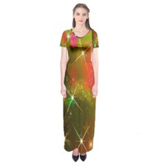 Star Christmas Background Image Red Short Sleeve Maxi Dress