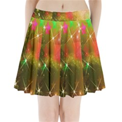 Star Christmas Background Image Red Pleated Mini Skirt
