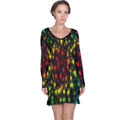 Star Christmas Curtain Abstract Long Sleeve Nightdress
