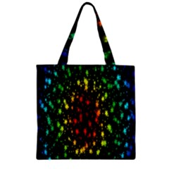 Star Christmas Curtain Abstract Zipper Grocery Tote Bag