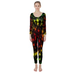 Star Christmas Curtain Abstract Long Sleeve Catsuit