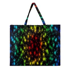 Star Christmas Curtain Abstract Zipper Large Tote Bag
