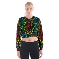 Star Christmas Curtain Abstract Women s Cropped Sweatshirt