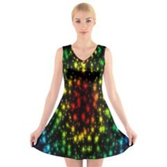 Star Christmas Curtain Abstract V Neck Sleeveless Skater Dress