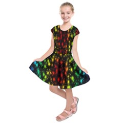 Star Christmas Curtain Abstract Kids  Short Sleeve Dress