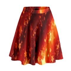 Star Christmas Pattern Texture High Waist Skirt