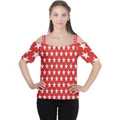 Star Christmas Advent Structure Women s Cutout Shoulder Tee