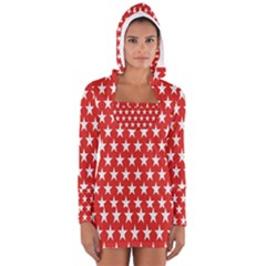 Star Christmas Advent Structure Women s Long Sleeve Hooded T Shirt