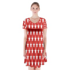 Star Christmas Advent Structure Short Sleeve V-neck Flare Dress