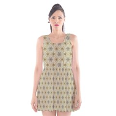 Star Basket Pattern Basket Pattern Scoop Neck Skater Dress