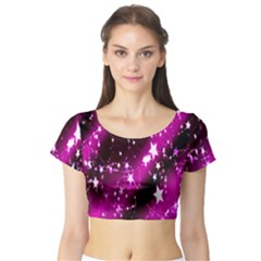 Star Christmas Sky Abstract Advent Short Sleeve Crop Top (Tight Fit)
