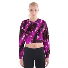 Star Christmas Sky Abstract Advent Women s Cropped Sweatshirt